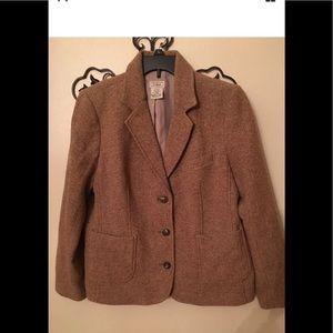 LL Bean wool blazer nylon silk herringbone Sz LP